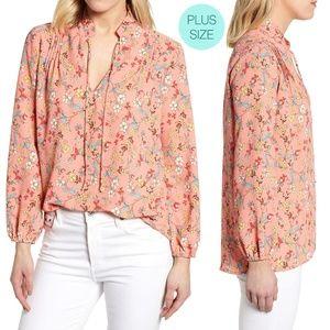 Caslon Coral Split Neck Floral Print Long Sleeves